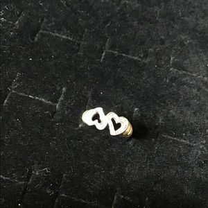 14K Gold double Diamond heart ring